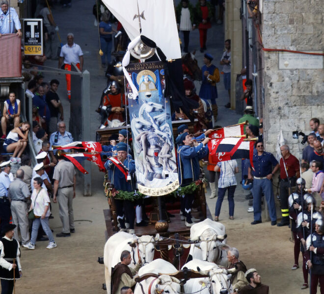 Palio horse race in Siena: the banner