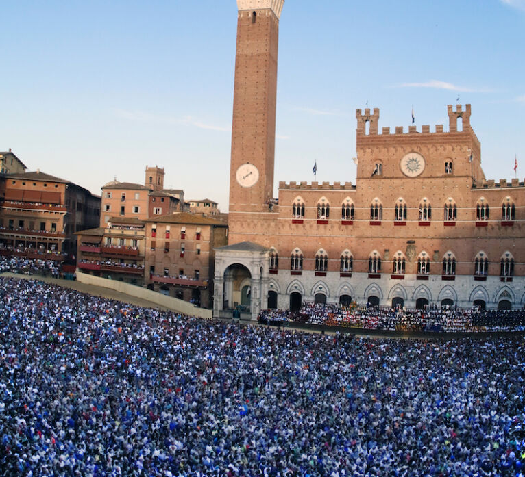Palio horse race in Siena: the campo square the day of the race