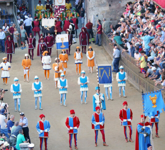 Palio horse race in Siena: historic parade