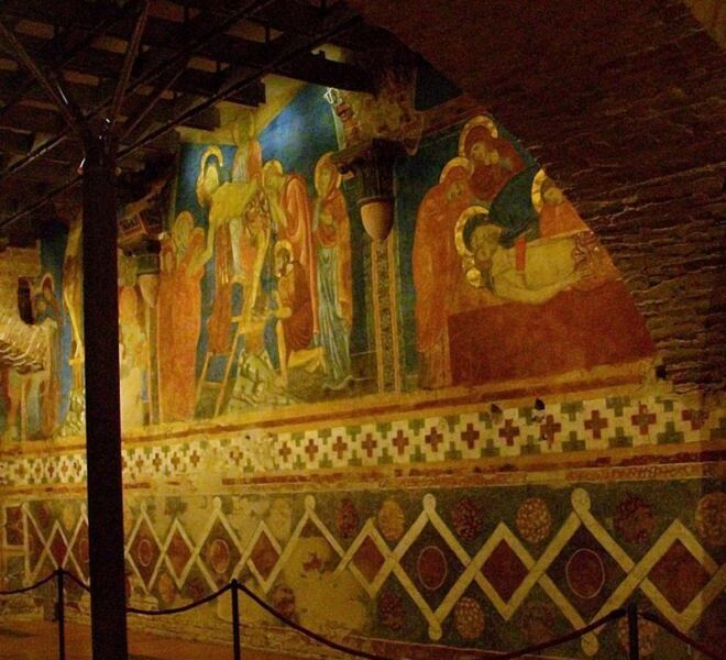 tour of secret Siena: the crypt of the cathedral